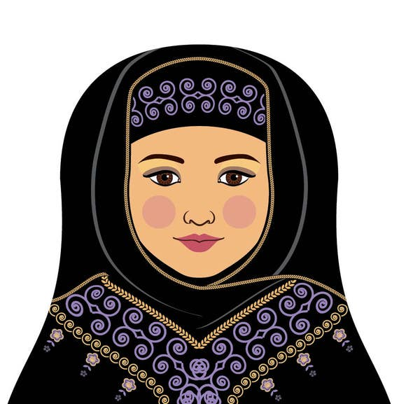 Saudi Wall Art Print featuring cultural traditional dress drawn in a Russian matryoshka nesting doll shape