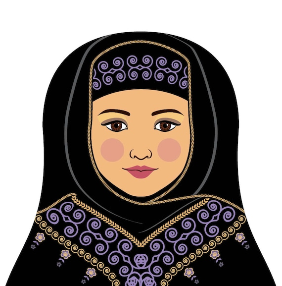 Saudi Arabian Wall Art Print featuring cultural traditional dress drawn in a Russian matryoshka nesting doll shape