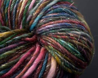 Roxane, HandSpun and Hand dyed Yarn, Merino, Silk and Sparkles, bulky, Single, 155 yards