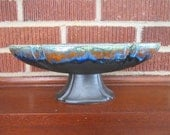 Vintage Mid Century Modern Beautiful Black Drip Glaze Haeger Pottery Pedestal Bowl