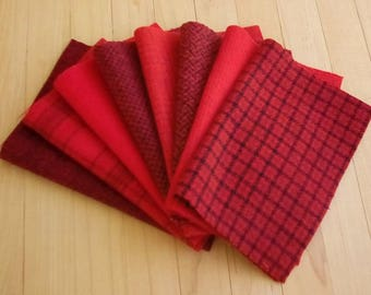 Hand Dyed Wool Felt, 8 pieces in Scarlet and Black, Perfect for Rug Hooking, Applique and Crafts