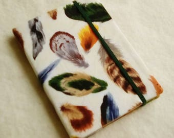 Fabric Covered Pocket Memo Book, FEATHERS, Refillable Mini Composition Notebook Cover