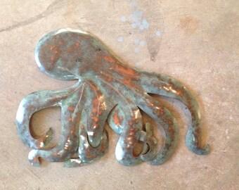 Octopus Metal Wall Art Sculpture Coastal Tropical Beach