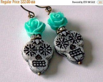 Sale Sugar Skull Earrings Day of the Dead  Día de los Muertos Halloween Skeletons Turquoise Mexican Autumn Czech Glass Picasso Fall Earrings