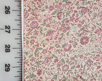 cotton floral print on tan background Just over 1yd MBT