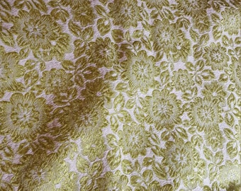 vintage assume Cotton or rayon Lime Green embroidered brocade type 2-3/4yd
