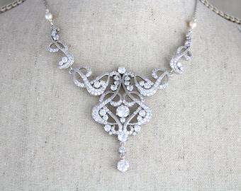 Crystal Wedding necklace, Bridal necklace, Wedding jewelry, Pearl necklace, Cubic Zirconia necklace, Art Deco necklace, Statement necklace