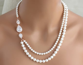 Rose Gold Bridal necklace, Pearl Wedding necklace, Bridal jewelry, Rose Gold necklace, Statement necklace, Crystal necklace, Vintage style
