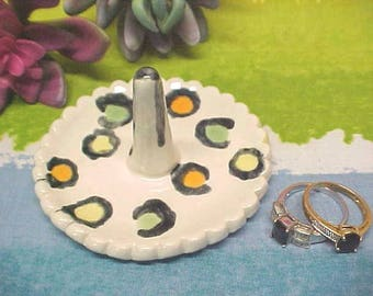 Ceramic Ring Holder, Beautiful Leopard Look, Handcrafted Porcelain, Hand Painted, Sunny Orange, Lemon Yellow, Sage Green