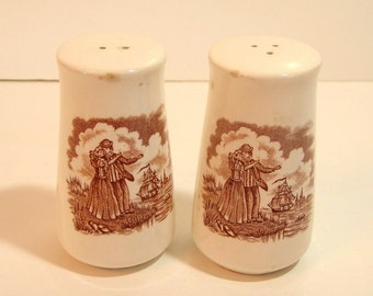 Alfred Meakin Brown Fair Winds Salt and Pepper Shakers