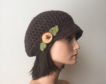 Slouchy Newsboy Cap Hemp Wool Brown leaf pixie cap Woodland hat Hippie Boho tree branch button forest fae ready to ship
