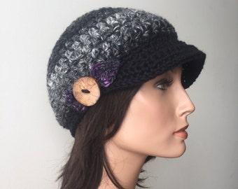 Slouchy Newsboy Cap Hemp Wool Black Grey Purple leaf pixie cap Woodland hat Hippie Boho tree branch button forest fae