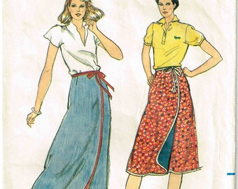 Misses Reversible Front Wrap A Line Skirt Mid knee or Maxi long Length Butterick 3673 Sewing Pattern Size Petite Small 6, 8 Waist 23 24