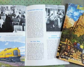 Union Pacific Railroad Vintage Color Brochures about Colorado and Dude Ranches 1950s Total of Two