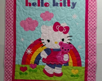 """Super Cute Hello Kitty Pink Finished Baby Girl Quilt 35"""" X 43"""""""