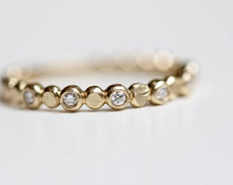 Diamond Wedding Band - Recycled 14k Gold - Beaded Diamond Stacking Ring - Bezel Set Diamond Ring