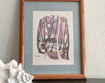 Vintage / Mid Century / Mad men decor / framed / twa menu / Hawaii / purple art / tiki bar / retro art / mod / mcm art / David Klein