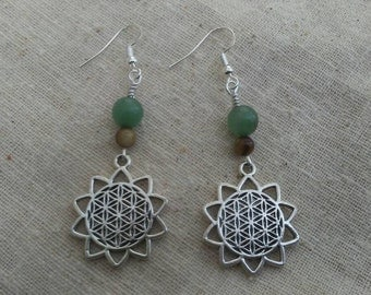 Beautiful flower of life lotus Silver Earrings with jade and mother of pearl