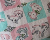 Adorable Piece of Vintage Baby Fabric with Lambs and Ducks