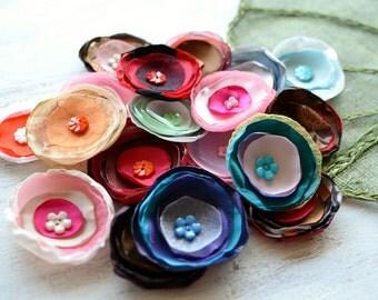 Fabric flowers, applique grab bag , handmade organza appliques, floral embellishments (20 pcs)- Grab Bag in Assorted Colors (mix set 345)