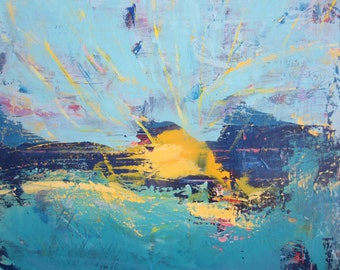 Sun Art Abstract Yellow  Blue  Bright Original Painting by Francine Ethier, 24 x 36 inches