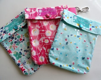 Ouch Pouch 3 Pack Pink/Teal (Small 4x5) Clear First Aid Travel Cosmetic Organizers Diaper Bag Backpack School Locker - Clip Option Add-On