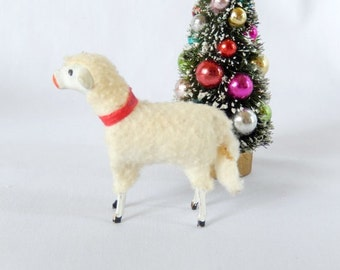 antique German stick sheep, Christmas collectible, Germany c. 1910, animal figurine, woolly sheep