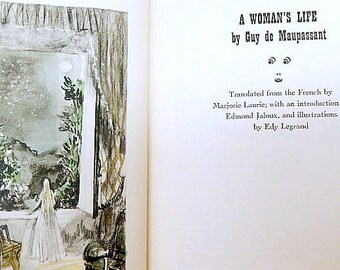 A Woman's Life, Une vie, vintage book 1942, Guy de Maupassant, illustrated, fiction, French literature