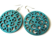 Circle Teal Green Coloured Wooden Filigree Disc Dangle Earrings