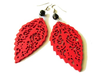 Red Wooden Leaf Earrings with Black Czech Glass Beads