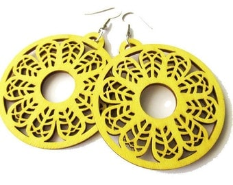 Large Yellow Patterned Wooden Circle Hoop Earrings. Hippie Boho Earrings