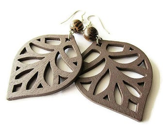 Brown Wooden Leaf Hippie Earrings with Palm Wood Beads