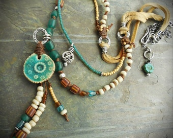 Sea Green Ceramic Necklace with Brown and Earth Tones