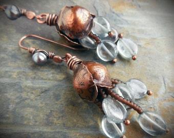 Pale Blue Fluorite Copper Tulip Earrings