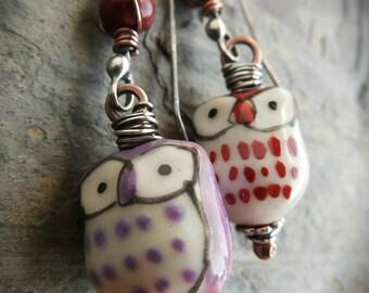 Ceramic owl mixed metal earrings