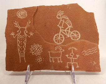 Mountain Biking with the Gods Hand Carved Sandstone Petroglyph