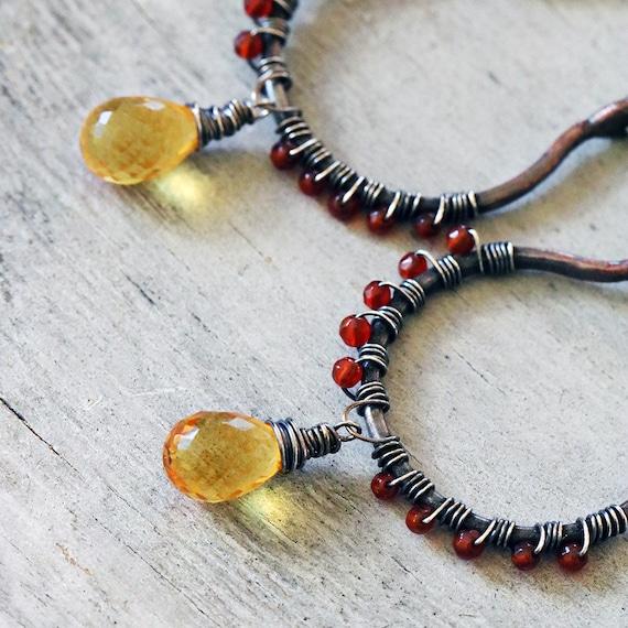 Carnelian Earrings | Boho Earrings Women | Copper Hoop Earrings | Boho Rustic Jewelry |  Beaded Hoops | Autumn Earrings | Statement Earrings