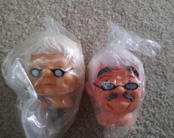 Vintage Pair of Grandma And Grandpa Doll Heads