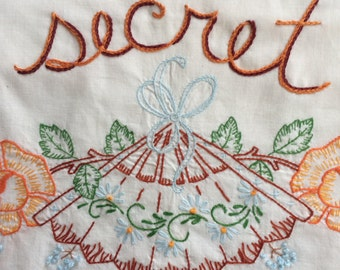 Secret Sanctuary, Pillowcases, Hand embroidered, Vintage, Repurposed, Boho, Bohemian, Couples gift, Girlfriend gift