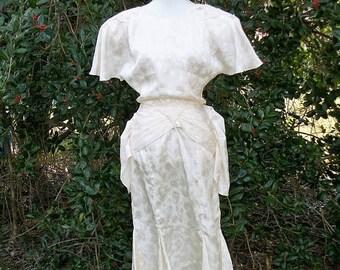 ON SALE 80s Ivory Flutter Sleeve Dress size Small Medium Bustle Style Dancing Dress Wedding Midi