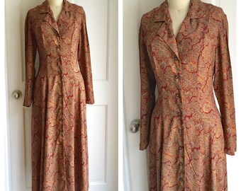 vintage TRAVEL ABROAD dress / paisley day dress / 1980s calf length dress