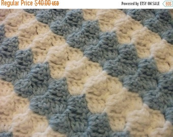 Christmas Diagonal Striped White and Blue Baby Blanket