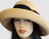 Raffia Straw Large Brim summer sun hat with wide flattering brim and black scarf belt with shell buckle trim