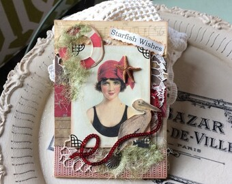 Beach-themed Card - Vintage-style Beach Card - Beach Lady Card - Seaside Card