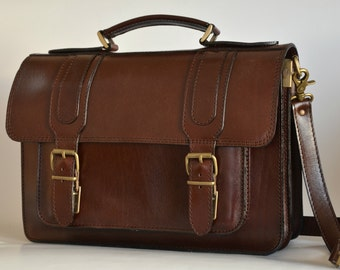 Handmade leather briefcase laptop bag messenger bag bookbag from Greece