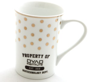 Orphan black mug - Dyad institute - clone club - sestra - television show fanart - science - science fiction - biotechnology - gold