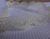 "Ivory Scalloped Lace Trim, Flat Lace Trim, Ivory Lace Trim, Craft  Lace Trim, Ivory Lace, 1/2"" wide Ivory Lace, 13.5 Yards"