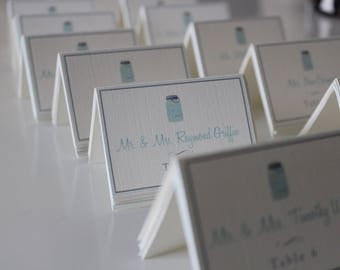 Mason Jar printed escort or placecards-wedding placecards-Tented wedding escort card