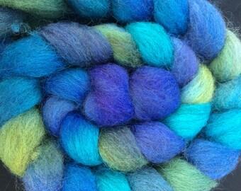 "Masham Fiber Hand Painted Combed Top ""Bluebells in Bloom"""