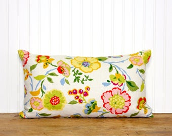 Floral Linen Pillow Cover - Colorful - Geometric - Cottage Style - Modern Home Decor - 12x20 - Sassyshades - Decorative Pillow
